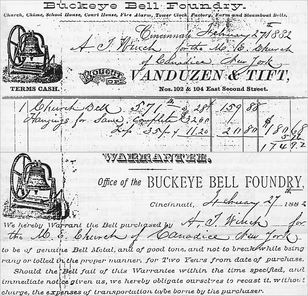 Receipt And Warranty From Buckeye Bell Co To Canadice